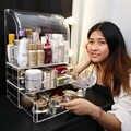 Maquiagem transparente armazenamento garrafas de perfume titular caixa grande acrílico cosméticos organizador de maquiagem com gavetas e tampas c506