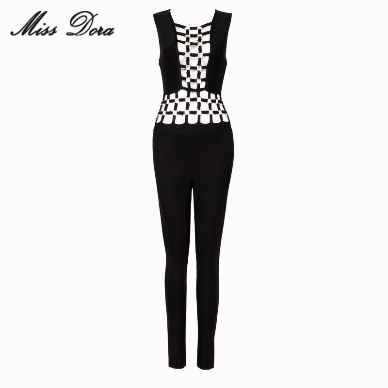 2016 Autumn winter women Bandage bodysuit sexy bodycon black hollow out squin rings rompers celebrity runway jumpsuit wholesale