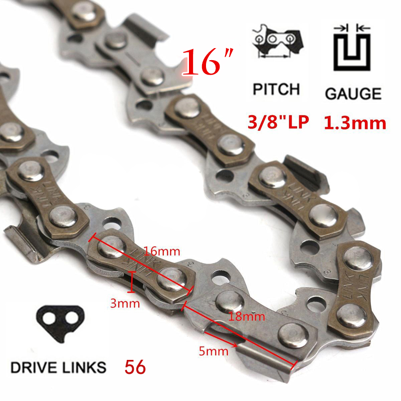 16 Chainsaw Saw Chain Blade For 3/8LP .050 56DL Shape Blade Saw Chain for Wood cutting Chainsaw Parts 96pcs 130mm scroll saw blade 12 lots jig cutting wood metal spiral teeth 1 8 12pcs lots 8 96pcs