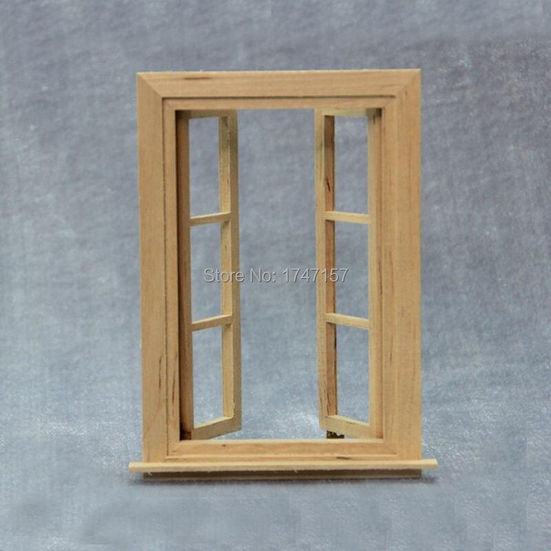 2 teile/los DIY Puppenhaus Fenster 1: 12 Skala Holz Miniatur ...