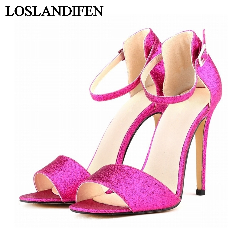 New Women Summer High Heels Sandals Brand Design Ladies Glitter Transparent Nubuck Pu Leather Pumps Shoes NLK-B0060