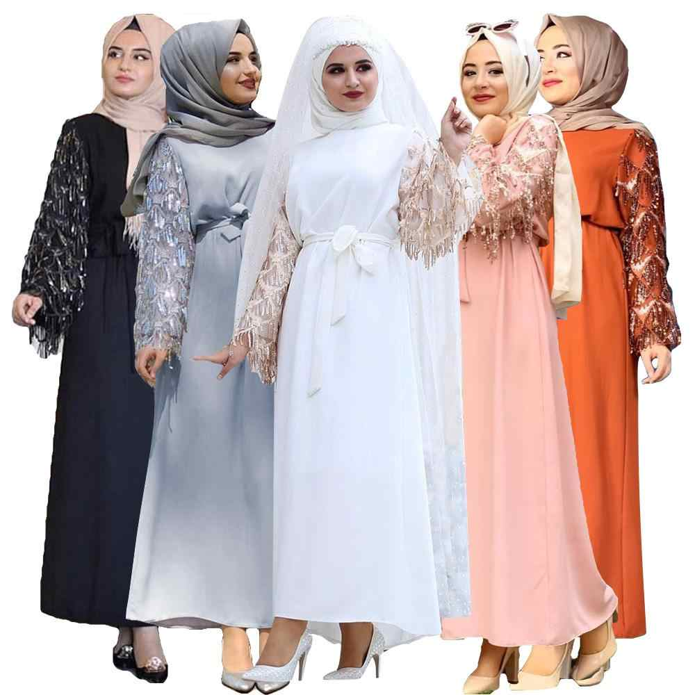 Мусульманская женская длинная Макси-платье рубашка abaya Sequins Дубай кафтан ислам Коктейльная Арабская кисточка Оман с поясом Турецкая одежда мода