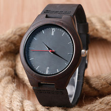 Fashion Nature Wood Wrist Watch Analog Sport Bamboo Black Genuine Leather Band Strap For Men Women Gift