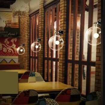 1 Pcs  Children bedroom glass ball wall lamp Bar light Retro Industrial light for Hotel room project Cafe glass wall lighting