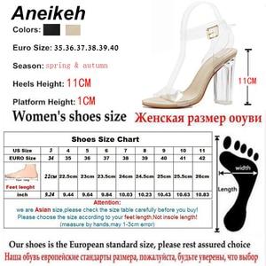 Image 5 - Aneikeh 2020 nouvelle mode dété Sexy PVC gelée cristal léopard ouvert talons hauts femmes Transparent parti pompes 11CM 41 42