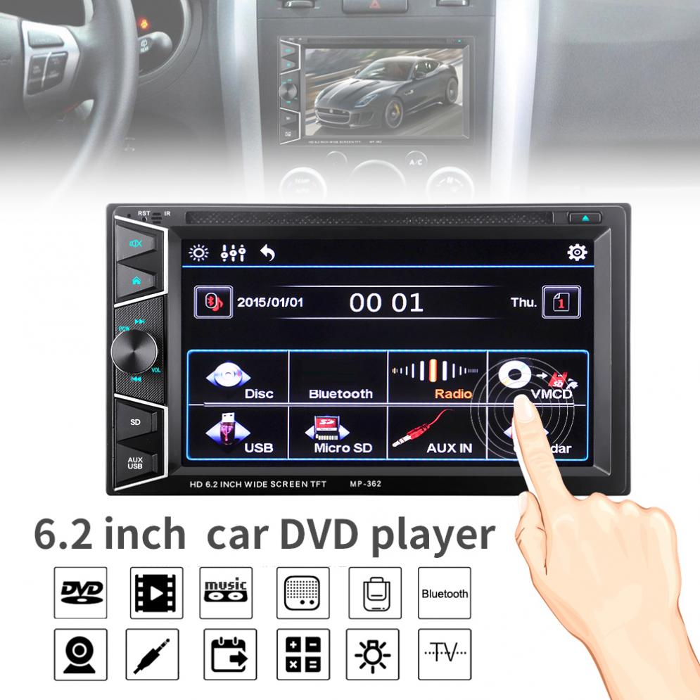 6.2 Inch 2 DIN Autoradio Bluetooth HD Touch Screen Car In Dash FM Radio Receiver DVD CD Player with Wireless Remote Control6.2 Inch 2 DIN Autoradio Bluetooth HD Touch Screen Car In Dash FM Radio Receiver DVD CD Player with Wireless Remote Control