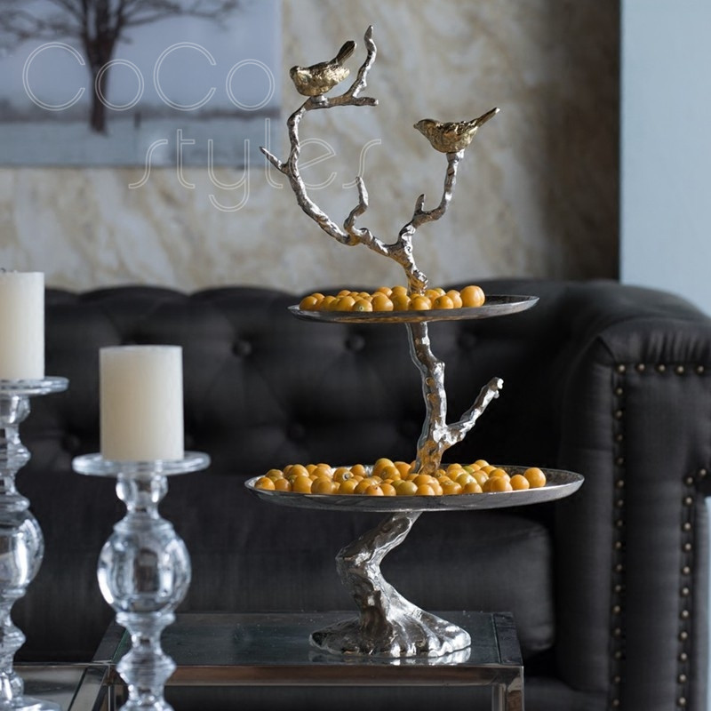 Cocostyles InsFashion plateau de service en laiton à deux couches avec oiseau pour hôtels ou restaurants cinq étoiles