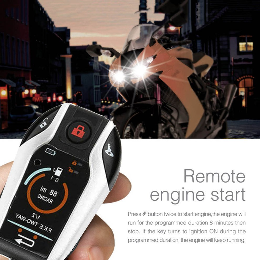 Alarm System Two-way with Engine Start Remote Control Universal Motorcycle Alarm System Anti-theft Security