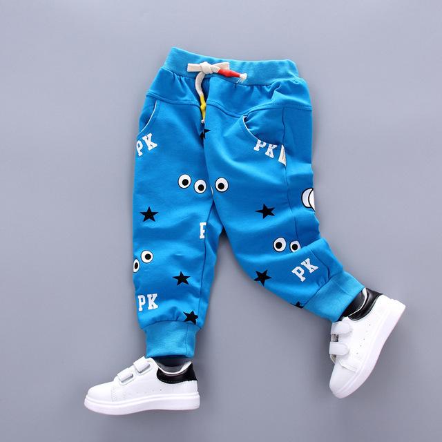 Nuevo Llega El Ojo Dedo Patrón Niños Pantalones de Algodón Del Verano Del Bebé Niñas niños Pantalones Harén Ropa de Los Cabritos 2017