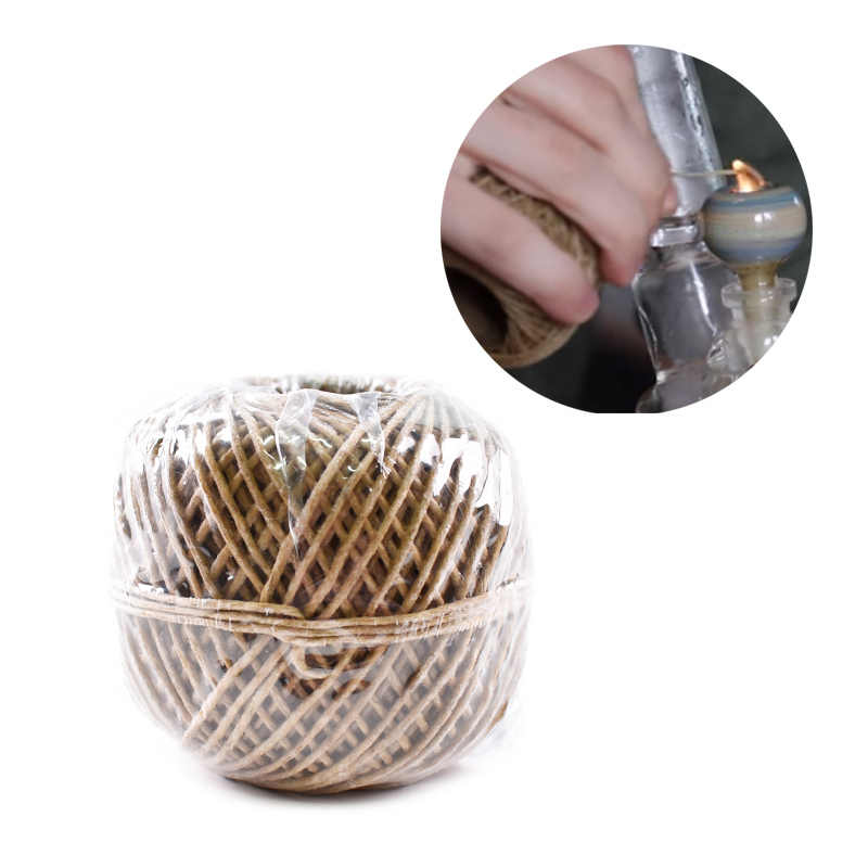 60 Meters Hemp Wick Wraps Natural Unbleached Hemp Beeswax Wick Organic Wax Rope Wick Waxed Thread Cord Auxiliary Combustion Rope