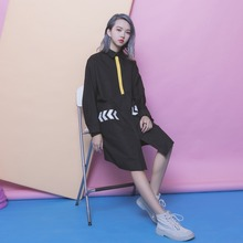 Street fashion classic patchwork geometry arrow pocket patchwork single breasted POLO collar long-sleeve dress female