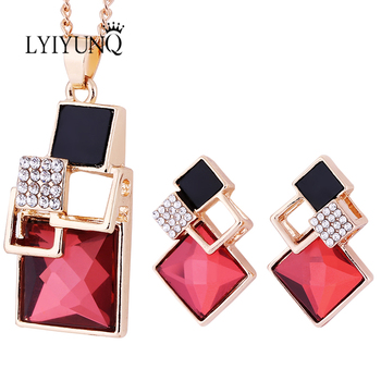 Brand Square Geometry Pandent Necklace Stud Earrings Crystal Magic Space Jewelry Set 1