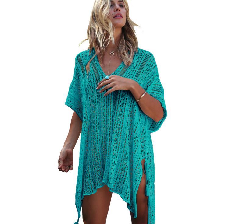 2018 Nouvelle Plage Cover Up Bikini Crochet Tricoté Gland Cravate Beachwear D'été Maillot de Bain Cover Up Sexy See-through Plage robe - 3