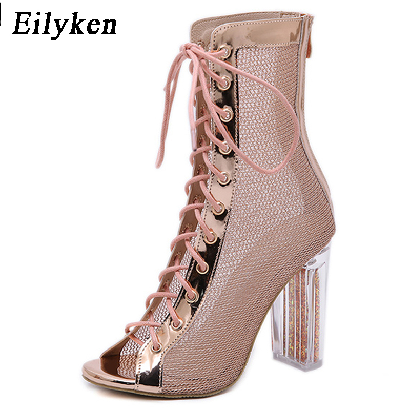 Eilyken Champagne Open Toed Crystal High Heels Women Sandals Transparent Cover Heel Ankle Strap Lace-Up Sandals PumpsEilyken Champagne Open Toed Crystal High Heels Women Sandals Transparent Cover Heel Ankle Strap Lace-Up Sandals Pumps