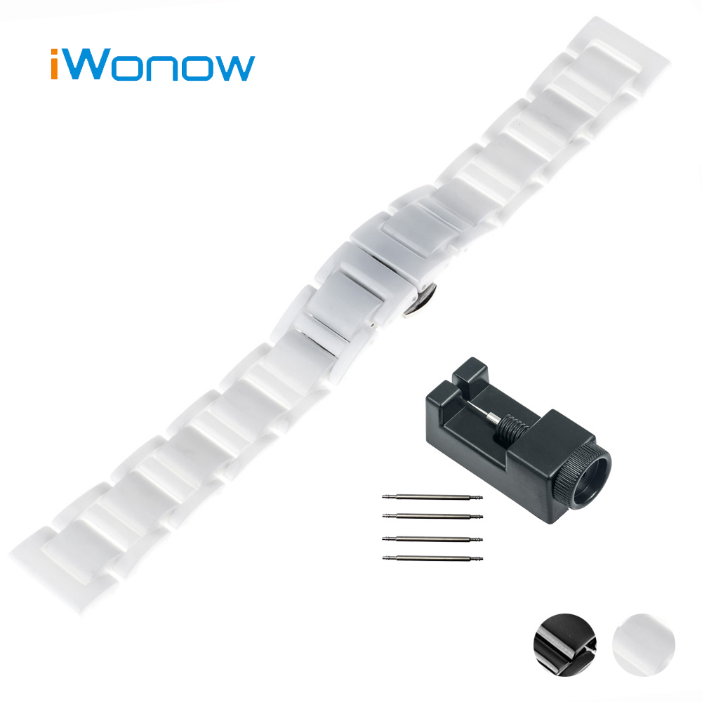 20mm Ceramic Watch Band for Ticwatch 2 42mm Butterfly Buckle Strap Wrist Belt Bracelet Black White + Spring Bar + Tool ceramic watch band 20mm 22mm for diesel butterfly buckle strap wrist belt bracelet black silver spring bar tool