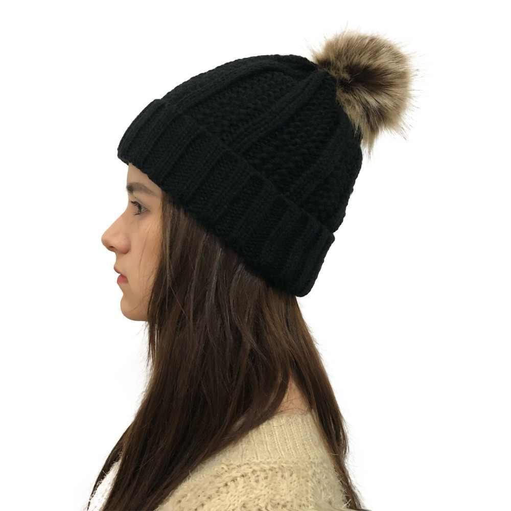 6c4ee33d95c ... 2018 Skullies Beanies Winter Hat For Women Warm Hat Knitting Warm Cap  Warm Wool Hat Cap ...
