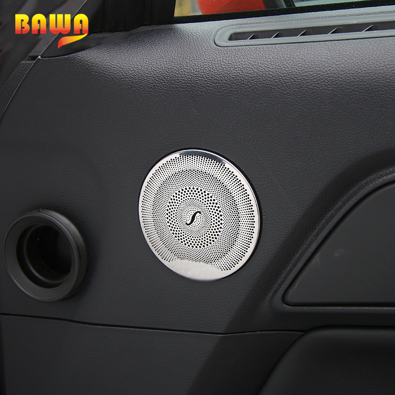 HANGUP Car Door Speaker Stereo Decoration Ring Trim Large Small Stickers Stainless Steel For Ford Mustang 2015 Up Car Styling in Interior Mouldings from Automobiles Motorcycles