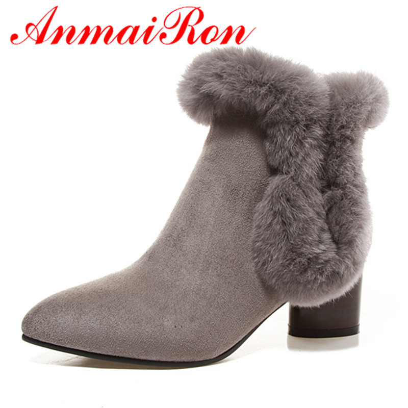 ANMAIRON Fashion Zippers High Heels Round Toe Platform Shoes Woman Large Size 34-43 Ankle Boots for Women Winter Boots Western enmayer buckle strap round toe zippers high heels winter boots shoes woman sexy red shoes large size 34 43 knee hight boots