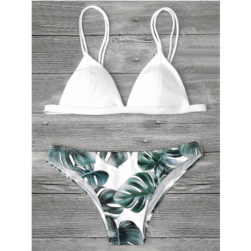 Bikini Push Up Swimwear Brazilian Bikini Set Women Two-Piece Swimsuit Leaves Printing Biquini Plavky Maillot De Bain Femme tassel bikini set sexy bikini push up swimsuit women two piece suits bandeau swimwear female maillot de bain femme 2016 new