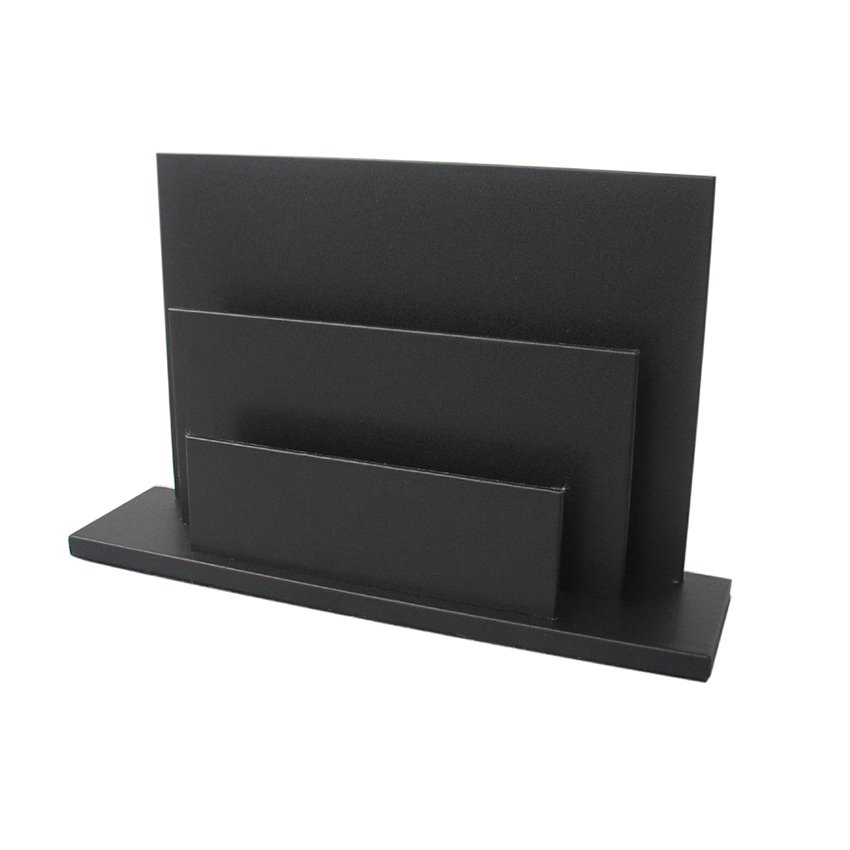 2 Slot Wood PU Leather Desk Brochure Book Magazine Display Rack Holder Stand Shelf For Hotel
