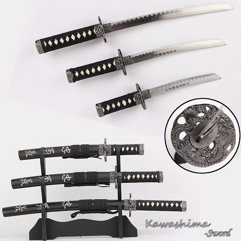 Bushido Musashi 3 pcs Set Mini Épées Avec Support En Bois En Acier Au Carbone Réplique Film Le Dernier Samouraï Ouvre-lettre