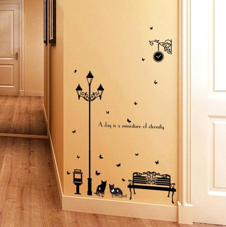 modern street kitten silhouette large wall stickers home decor ...