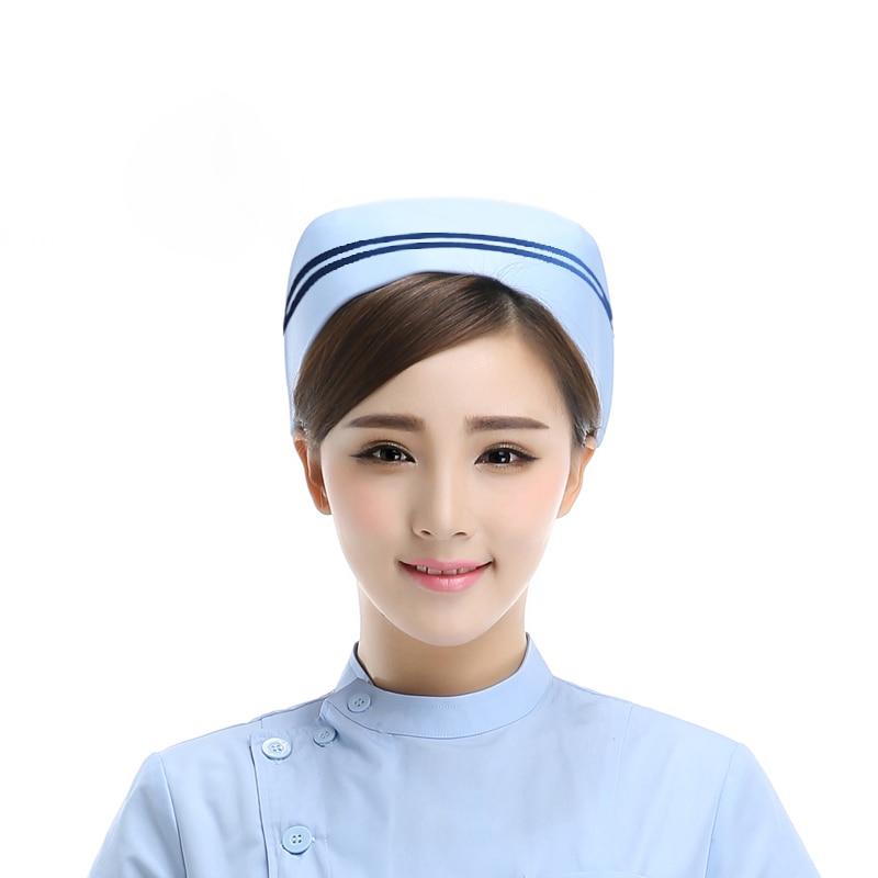 2017 New Women Nurse Hats White Blue Pink Pure Color