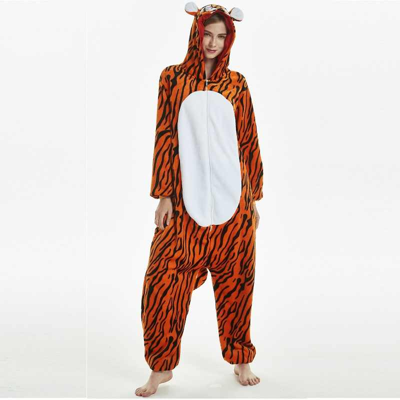 4a958a4fbf8 Men Women Flannel kigurumi for adults Winter Kegurumi One-piece Animal  Pajamas Kigurumi Tiger Lion