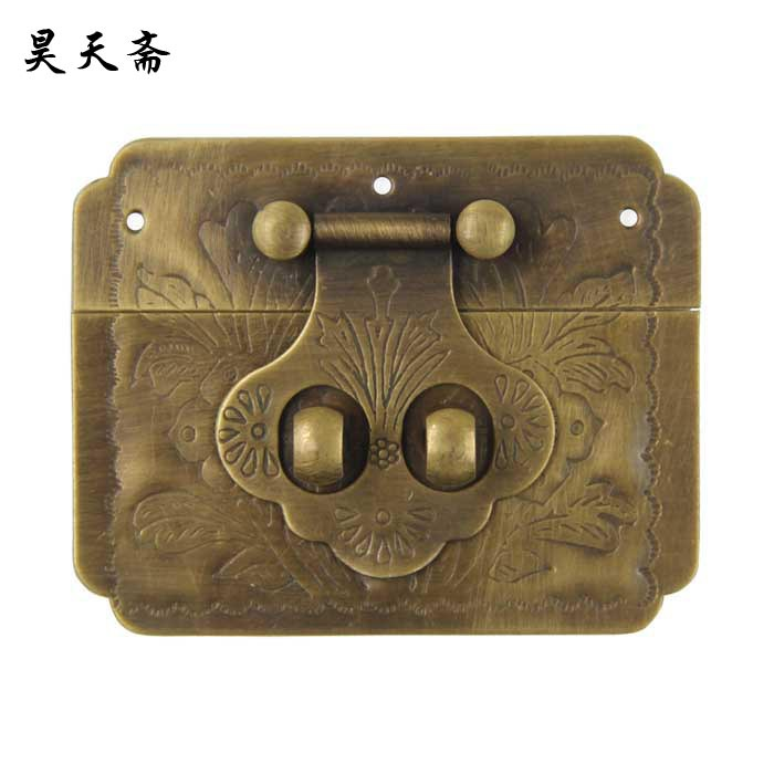 [Haotian vegetarian] Chinese home copper fittings / Zhang Muxiang Accessories / box buckle / clasp HTN-017 Smooth