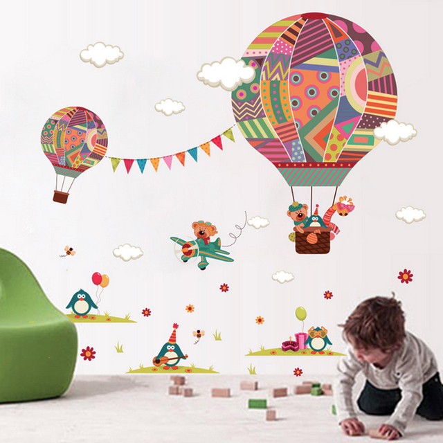 Hot Air Balloon Wall Stickers For Kids Children Room DIY Cartoon Bear  Giraffe Wall Decal Poster