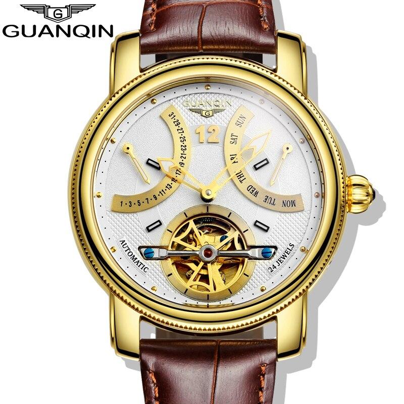 ФОТО 2016 GUANQIN Brand Men's Automatic Mechanical Watches Men Waterproof Luminous  Watch Calendar Leather Gold Wristwatch
