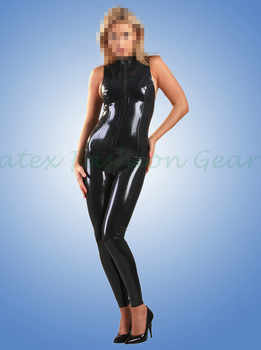 Handmade 0.4MM Thickness Black Rubber Catsuit Sleeveless Fetish Latex Vest Bodysuits made to measure - DISCOUNT ITEM  10% OFF All Category