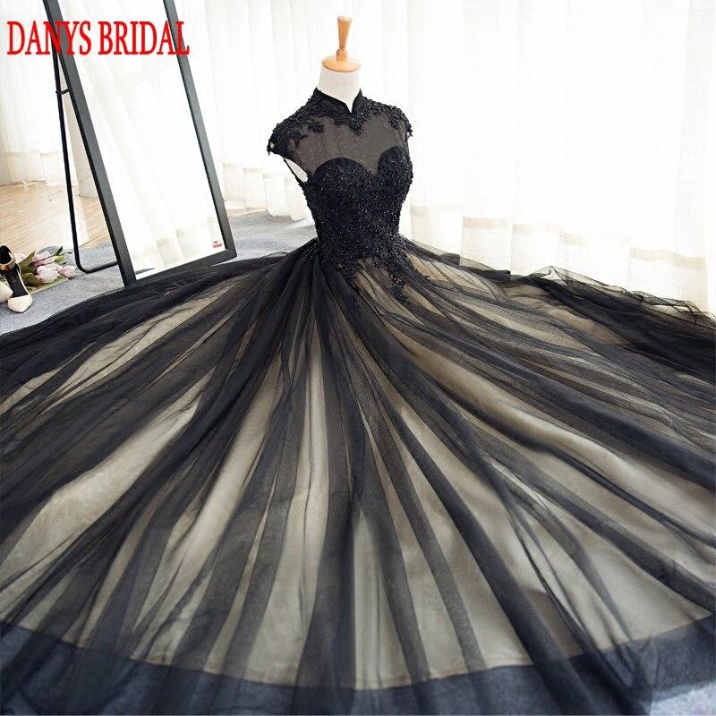 Svart långa Lace Evening Dresses Party Tulle Pärlstav High Neck - Särskilda tillfällen klänningar - Foto 5