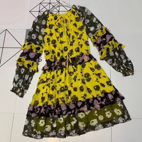 Long Sleeve Silk Dress High Quality Boho Women Dress Midi Summer Dress Print Tie 2019 A line Dress Floral Printed