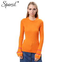 Sparsil Women Autumn Wool Sweaters Ruffled Collar Lantern Sleeve Slim Knitted Woolen Pullover Soft Elastic Ruched Striped Jumper