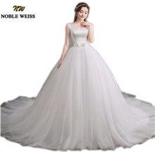 NOBLE WEISS White Satin Wedding Ball Gown New Tulle Skirt Bridal Dresses  50cm Train Ivory Bride Wedding Dress free Wedding veil 6864b2f28858