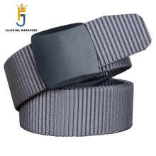 Фотография FAJARINA Unisex Quality Plastic Black Buckle Canvas Automatic Styles Straped Grey Nylon Belts for Men 95-125cm Length CBFJ0029