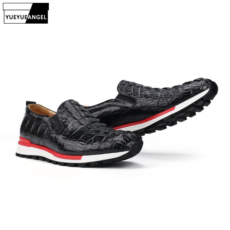 ce49a7b91c Luxury Men Travel Real Crocodile Leather Shoes Antiskid Platform Joggers  Sneakers Loafers Slip On Moccasin Gommino Casual Shoes