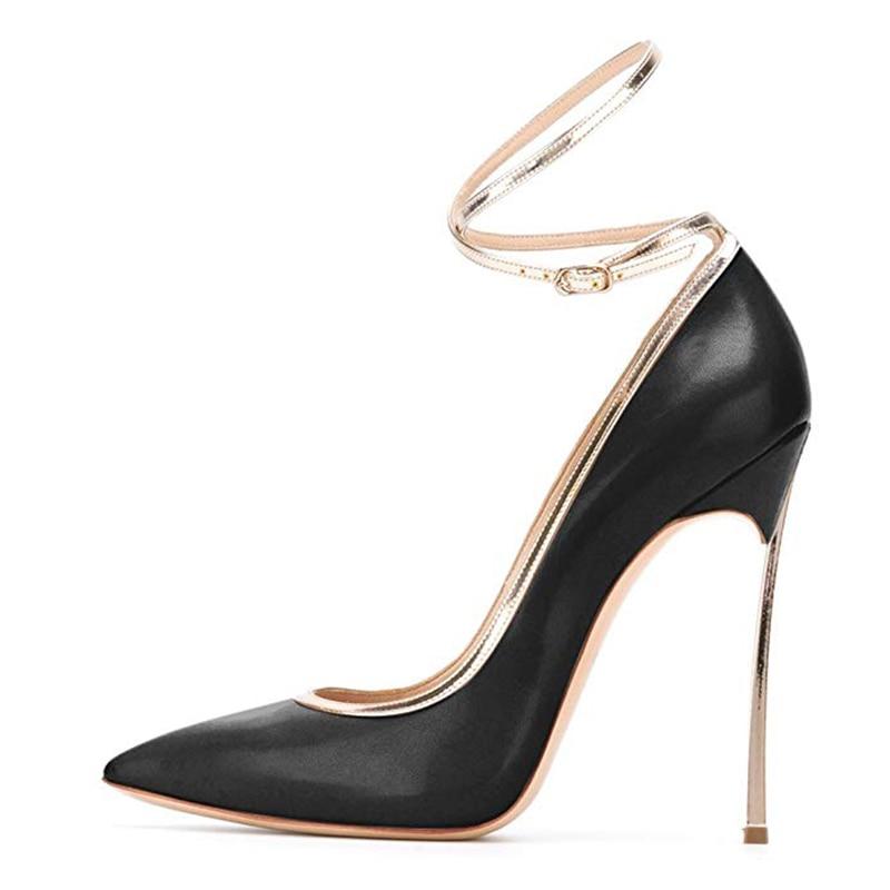 De Haute 13 Sangle Noir Boucle Chaussures Initiale Talon Pompes Robe La Talons Plus Mince Ef1639 Nous Mode Femmes Black Taille L'intention Dames 5gHqYqw