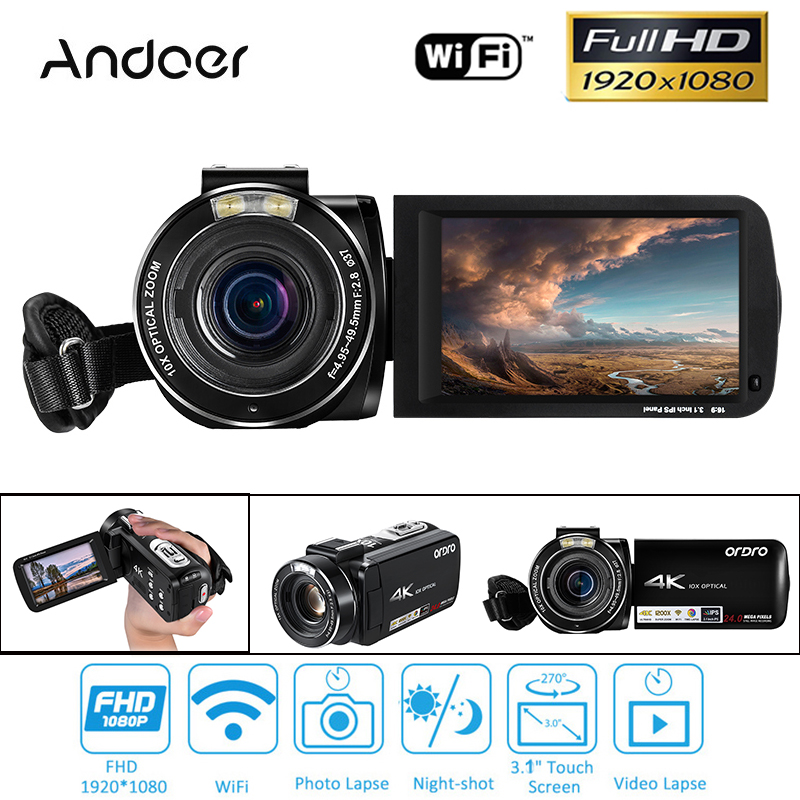 Andoer 64 GB 4 K 1080 P 24MP WIFI Numérique caméra vidéo Caméscope Enregistreur avec batterie rechargeable cadeau de noël
