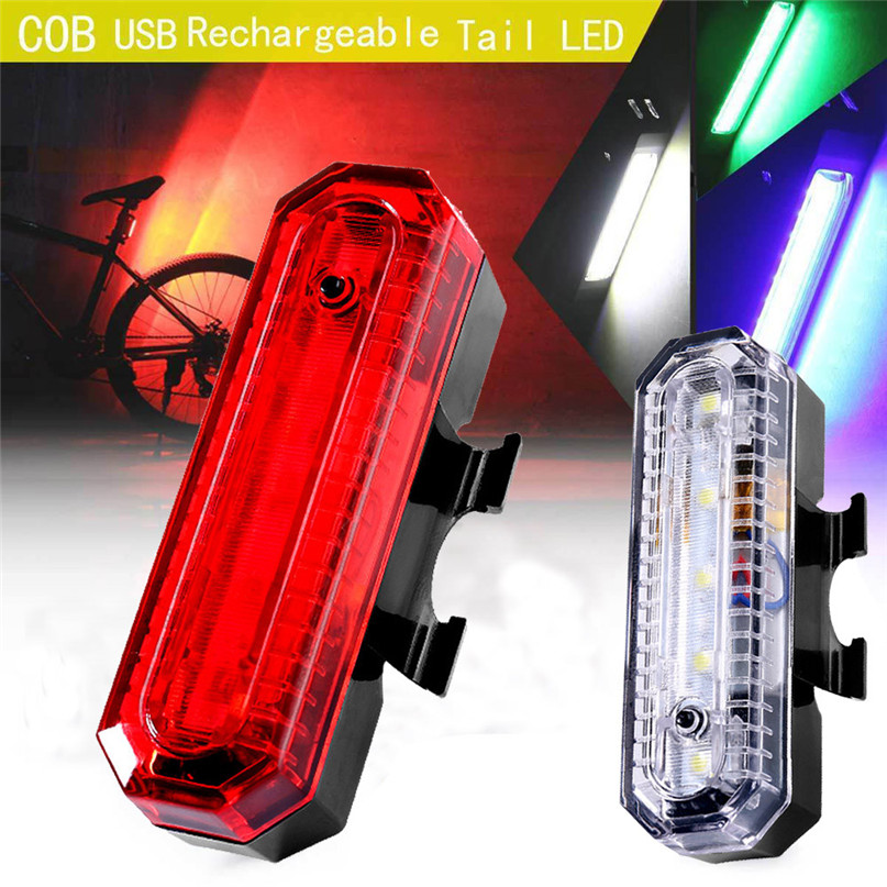 Safety Cycling Warning Rear Lamp USB Rechargeable COB LED Tail Light Bicycle