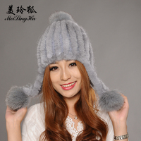 MeiLingHu Natural Real Rex Mink Hat for Women Winter Hat Fashion Warm Solid Natural Genuine Fur Beanies Lady Girl Cap