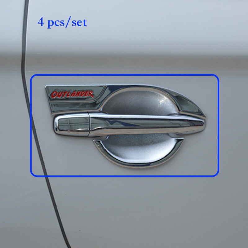 For Mitsubishi Outlander 2016 DOOR BOWL COVER TRIM Decoration ABS CHROME 2017 Car styling ACCESSORIES
