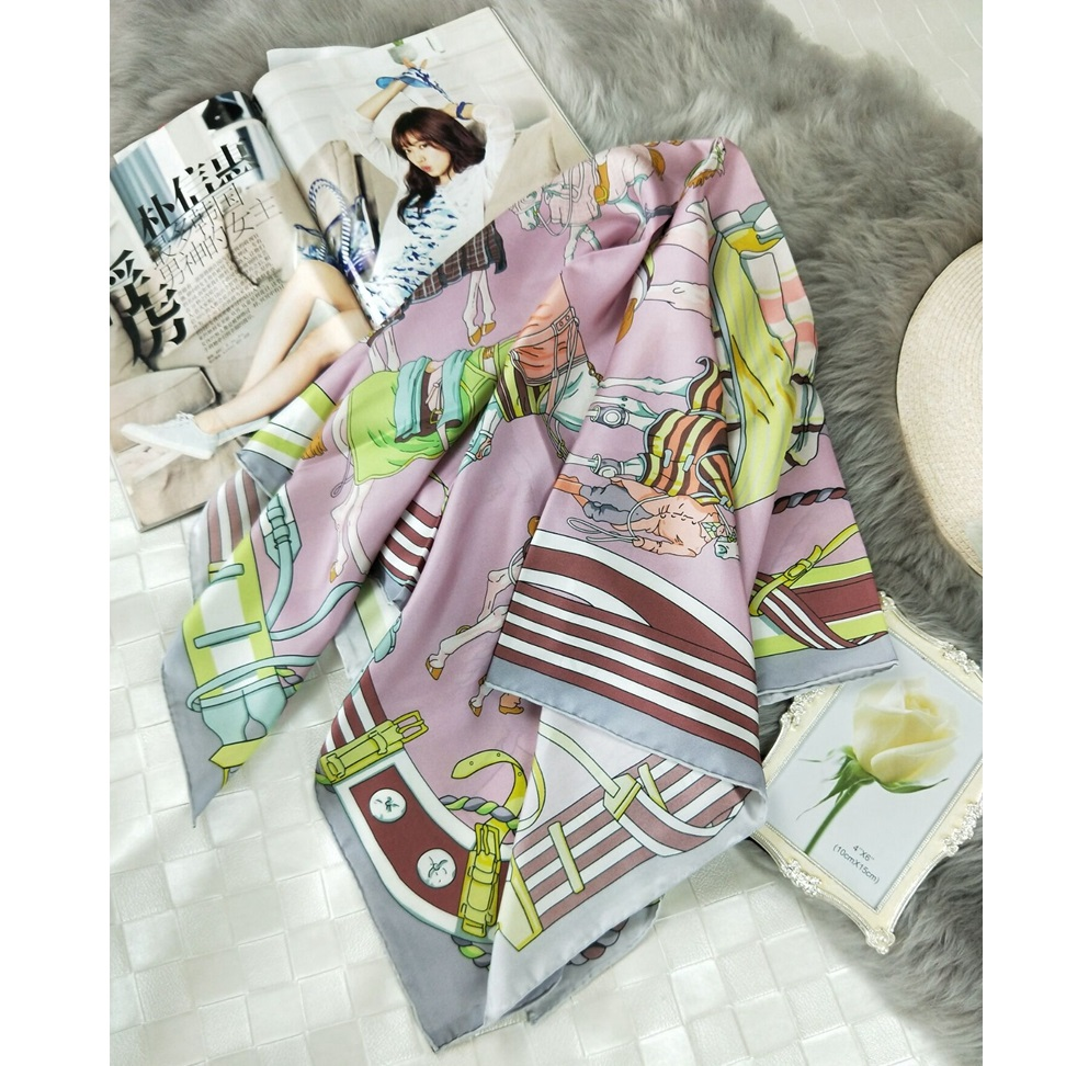 High Style Large Square Silk   Scarf   Shawl Women 100% Silk Twill   Scarf     Wraps   Hijab Foulard 88x88cm Hand Rolled Edges