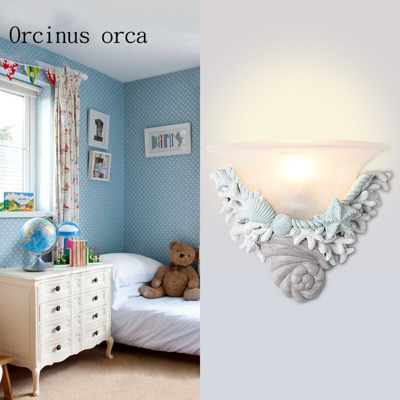 Mediterranean creative shell wall lamp living room aisle bedroom bedside lamp children room European style decorative wall lamp european style bronze white shade wall lamp simple creative living room bedroom led bedside lamp jane european retro wall lamp