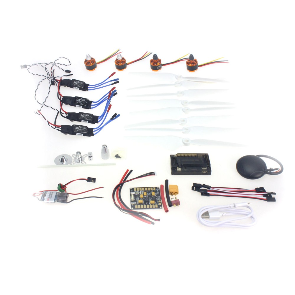 920KV Brushless Motor 30A ESC BEC Self-locking Propeller GPS APM2.8 Flight Control for 4-axis DIY GPS Drone 30a esc welding plug brushless electric speed control 4v 16v voltage