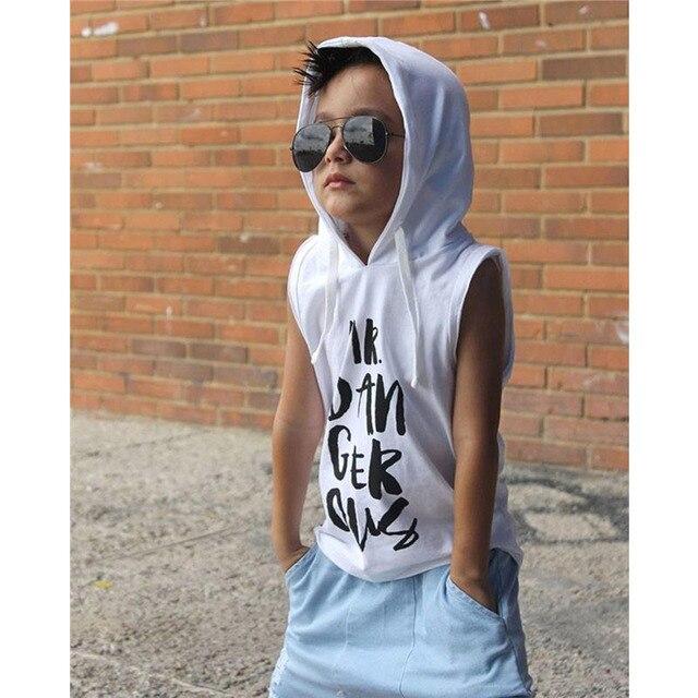 Miúdos Criança Meninos Treino Vestuário Set 2 pcs Com Capuz Casuais Colete T Top + Holes Ripped Denim Calças Harém Crianças calça jeans Roupas