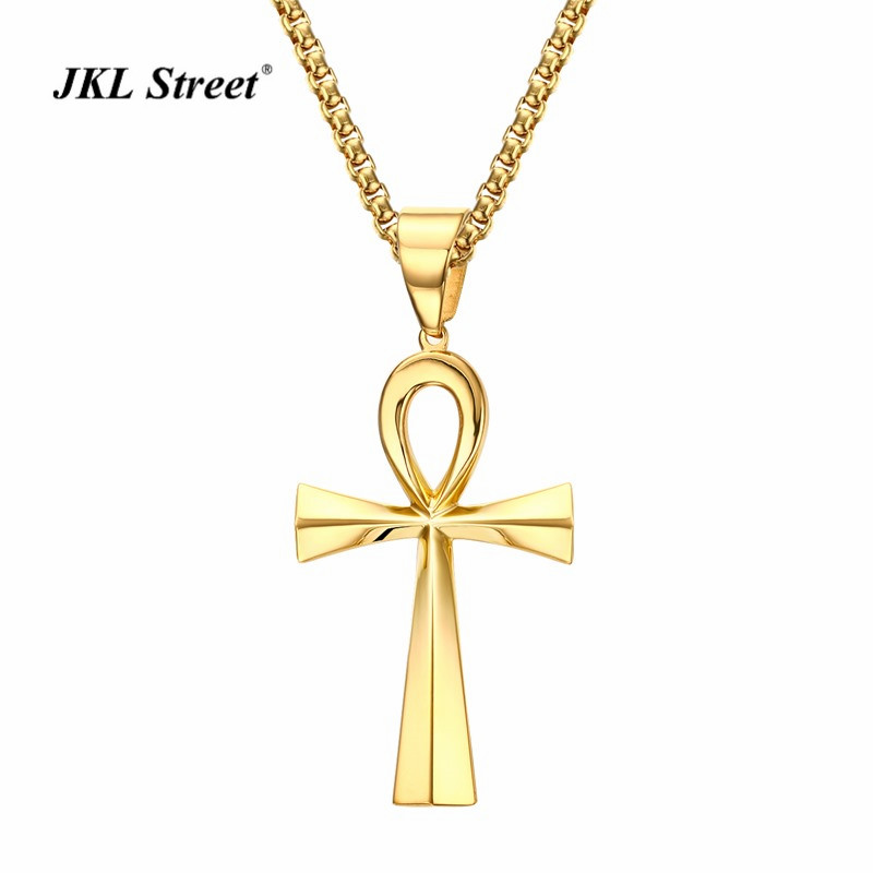 New Hot Life Cross Necklace Large Egyptian Ankh Crux Ansata Cross Gold Chain Religious Pendant For