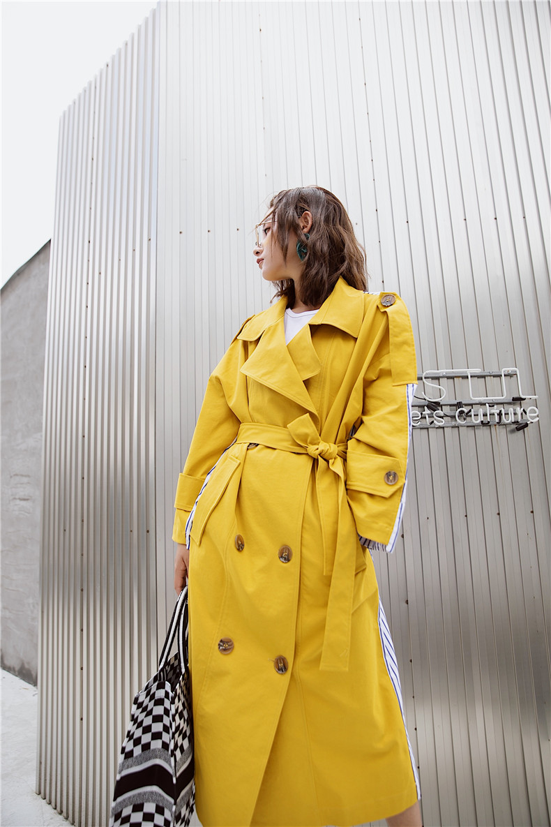 Korean Women Clothes 18 Autumn Windbreaker Female Long Coat New Style Striped Stitching Yellow Winter Trench Coat 10