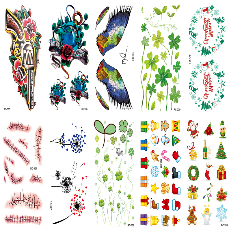 10pcs Tattoo Sleeve Sexy Body Art Water Transfer Decal Waterproof Temporary Tattoo Sticker Halloween Scar on Wrist Fake Tatoo